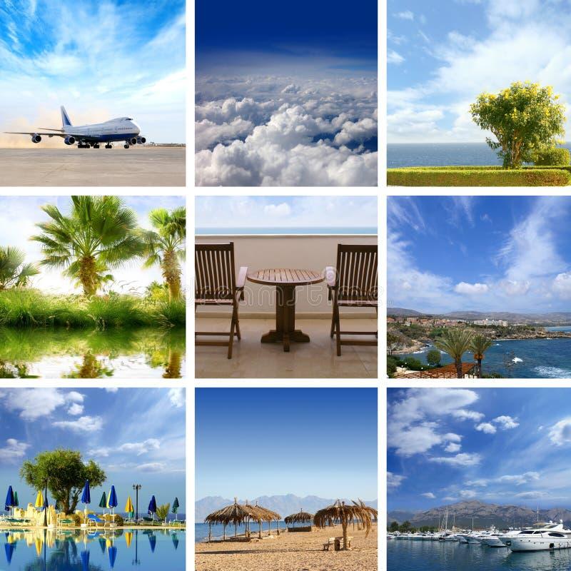 Eine Collage der Rücksortierungbilder mit Himmel und Wasser stockfotografie