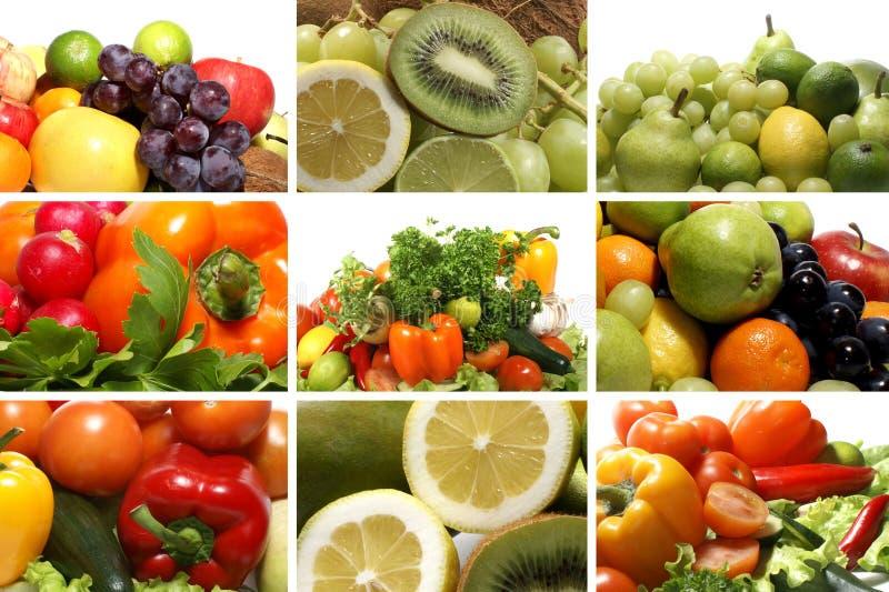 Eine Collage des unterschiedlichen frischen und geschmackvollen Gemüses stockbild