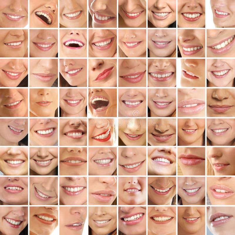 Eine Collage des unterschiedlichen weiblichen Lächelns lizenzfreie stockfotos