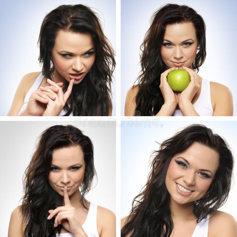 Eine Collage von Bildern mit einer jungen Brunettefrau stockfoto