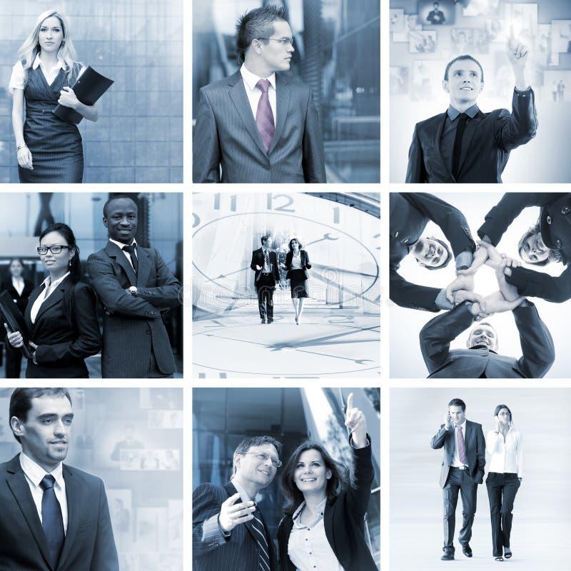 Eine Collage von Geschäftsleuten in der Abendtoilette stockbilder