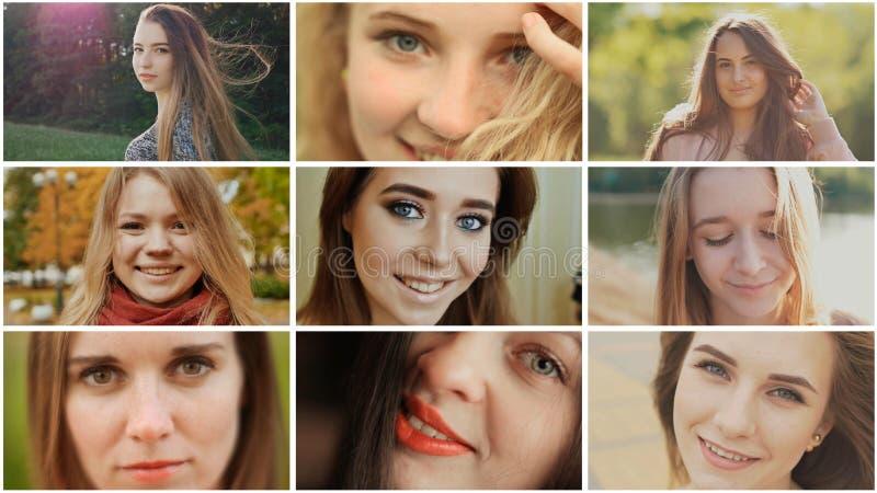 Eine Collage von neun jungen schönen Mädchen russischem slawischem Auftritt stockfoto