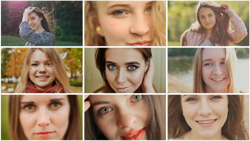 Eine Collage von neun jungen schönen Mädchen russischem slawischem Auftritt stockbilder