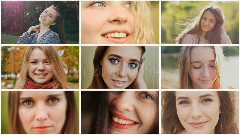 Eine Collage von neun jungen schönen Mädchen russischem slawischem Auftritt stockfotografie