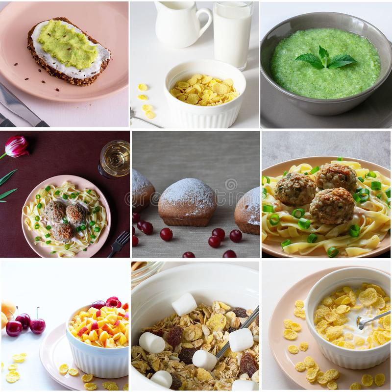 Eine Collage von verschiedenen Fotos der köstlichen Nahrung stockbild