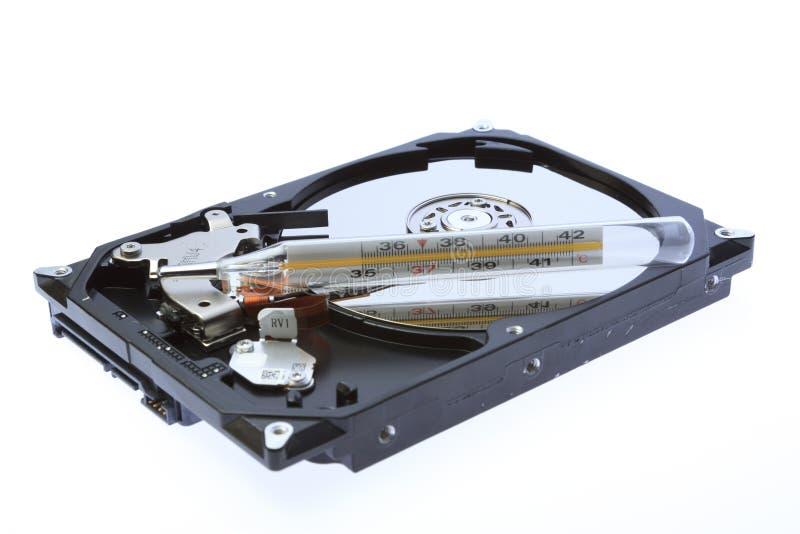 Eine Computerscheibe mit einer hohen Temperatur lizenzfreie stockfotografie