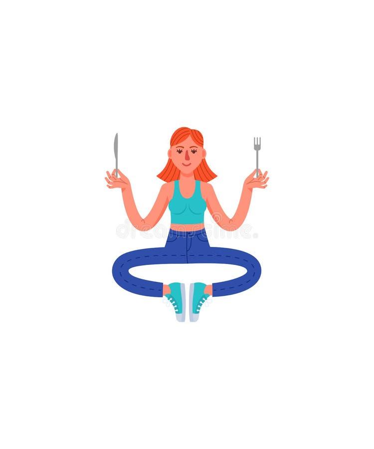 Eine dünne Frau sitzt in einer Haltung der Meditation mit einer Gabel und einem Messer in ihren Händen Frau in den Jeans, im T-Sh vektor abbildung