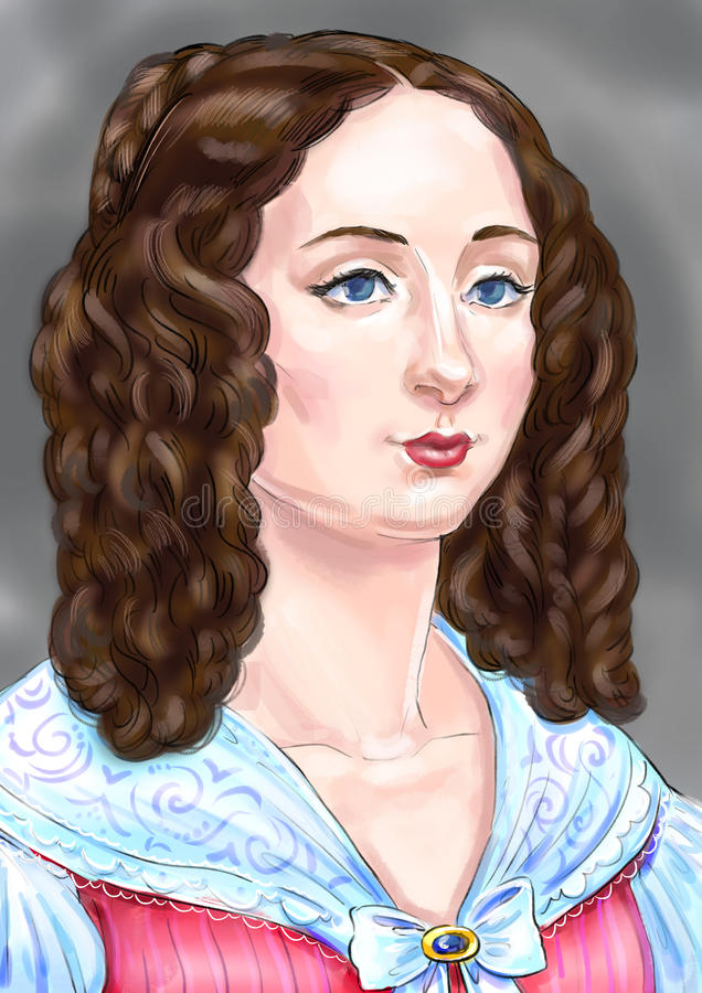 Eine Dame im Rosa lizenzfreie abbildung