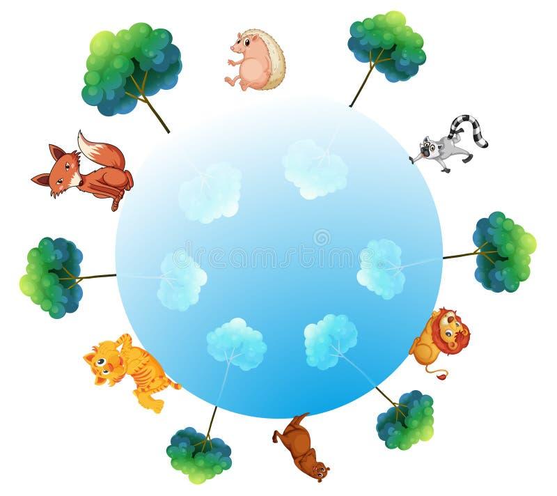 Eine Darstellung der Erde mit Tiere und Pflanzen stock abbildung