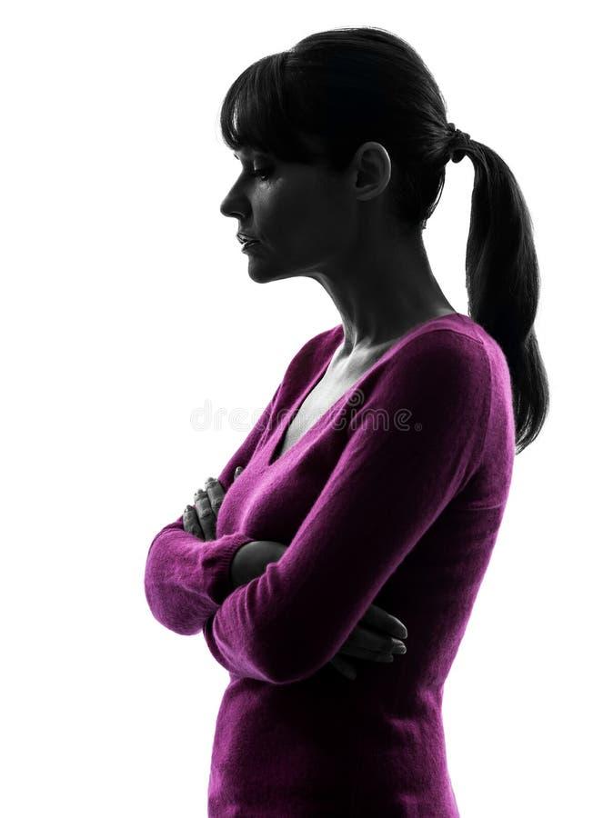 Traurigkeits-Porträtschattenbild der Frau denkendes stockbilder
