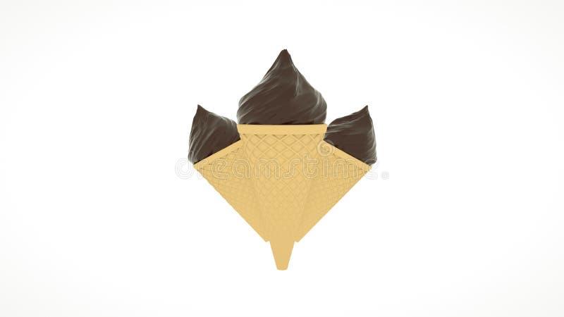Eine diagonale Eistüte mit SchokoladenEiscreme Wiedergabe 3d lizenzfreies stockfoto