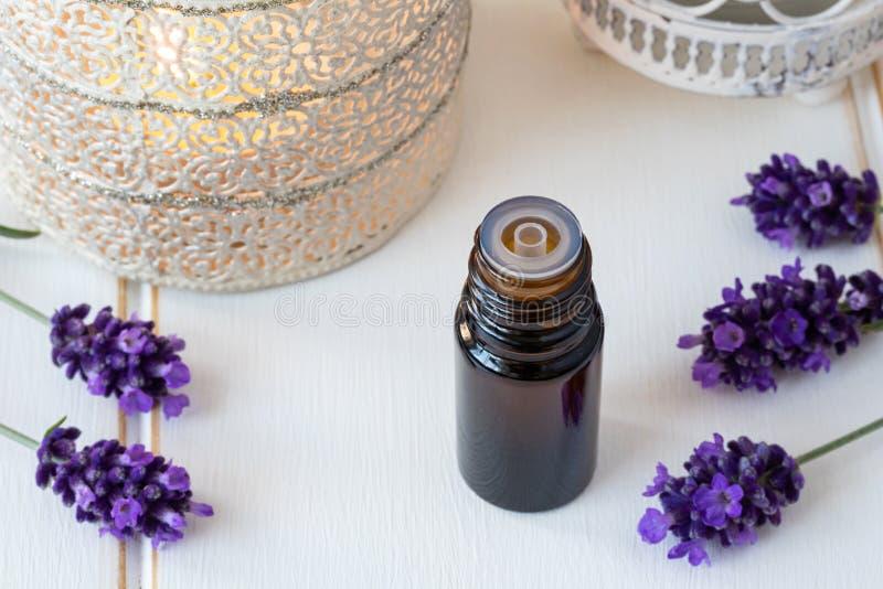 Eine dunkle Flasche ätherisches Öl mit frischem blühendem Lavendel lizenzfreies stockfoto