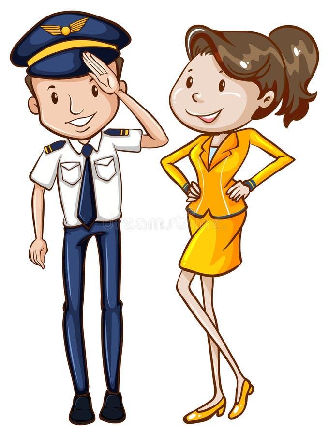Eine einfache farbige Skizze eines Piloten und der Hosteß stock abbildung