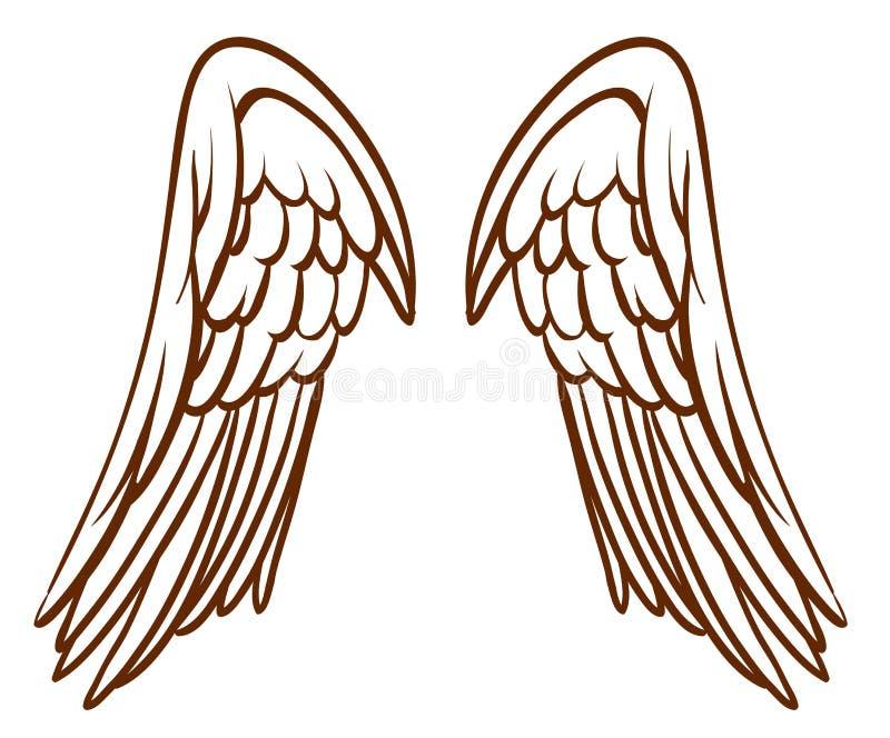 Eine einfache Skizze der Flügel eines Engels lizenzfreie abbildung