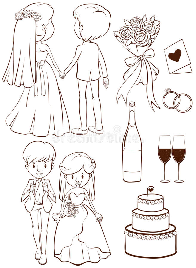 Eine einfache Skizze einer Hochzeitszeremonie stock abbildung