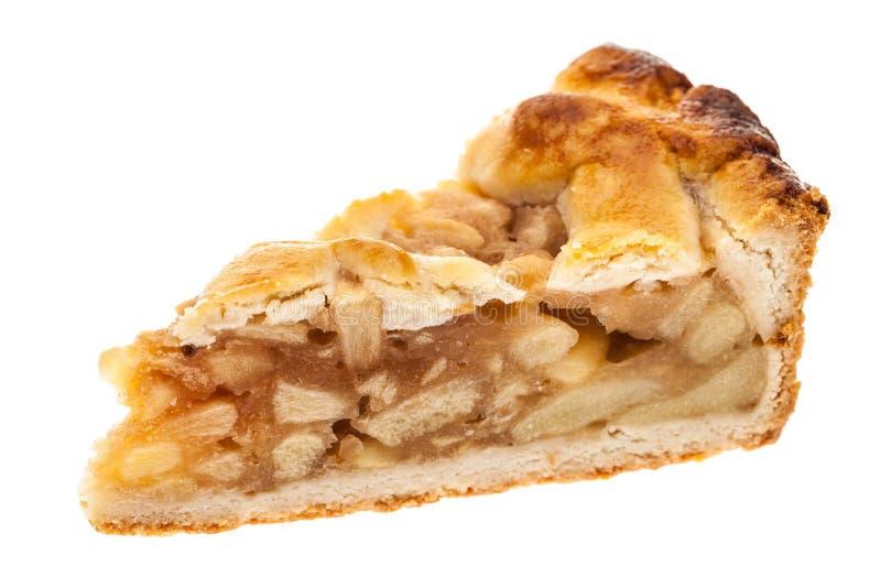 Eine einzelne Scheibe des Apfelkuchens lokalisiert auf weißem Hintergrund lizenzfreies stockbild