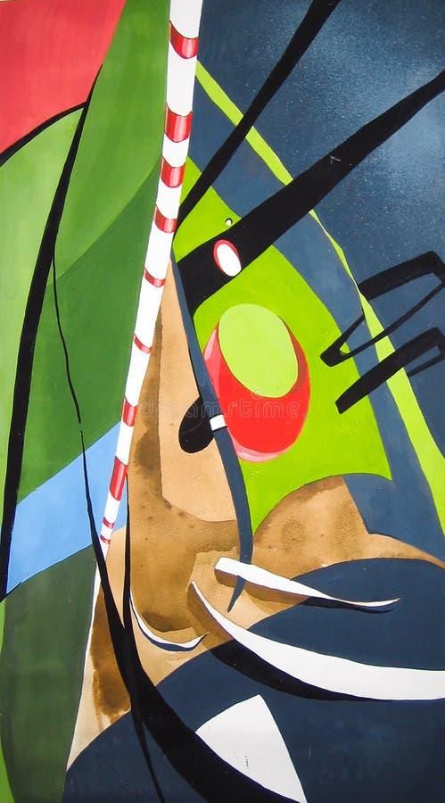 Eine einzigartige Malerei Schöner abstrakter Hintergrund in den blauen, grünen, gelben und orange Tönen, die Geschwindigkeit und  stock abbildung