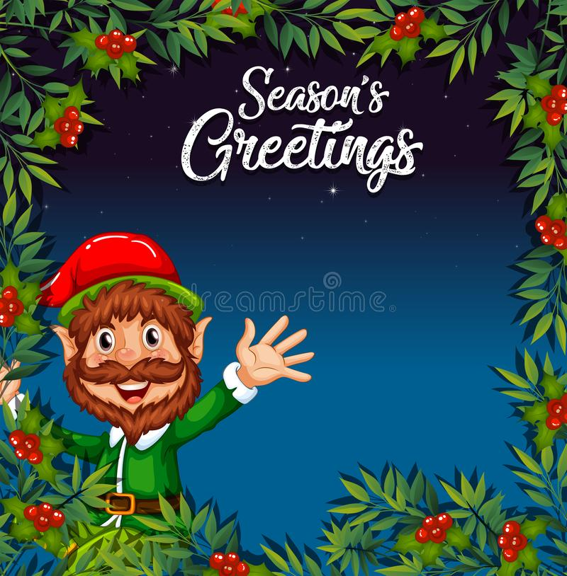 Eine Elfe auf Weihnachtsschablone vektor abbildung