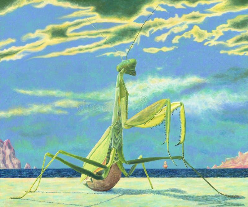 Eine enorme Gottesanbeterin, die auf einem sandigen Strand sitzt vektor abbildung