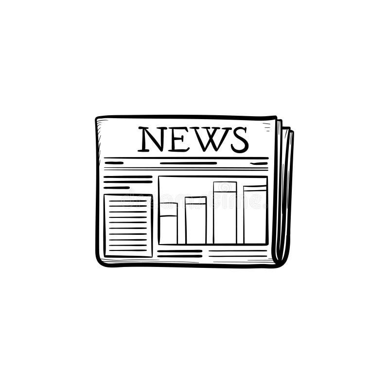 Eine Entwurfs-Gekritzelikone der Zeitung Hand gezeichnete stock abbildung