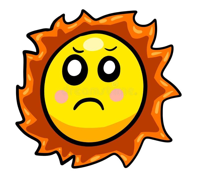 Eine ernste Karikatur Sun stock abbildung