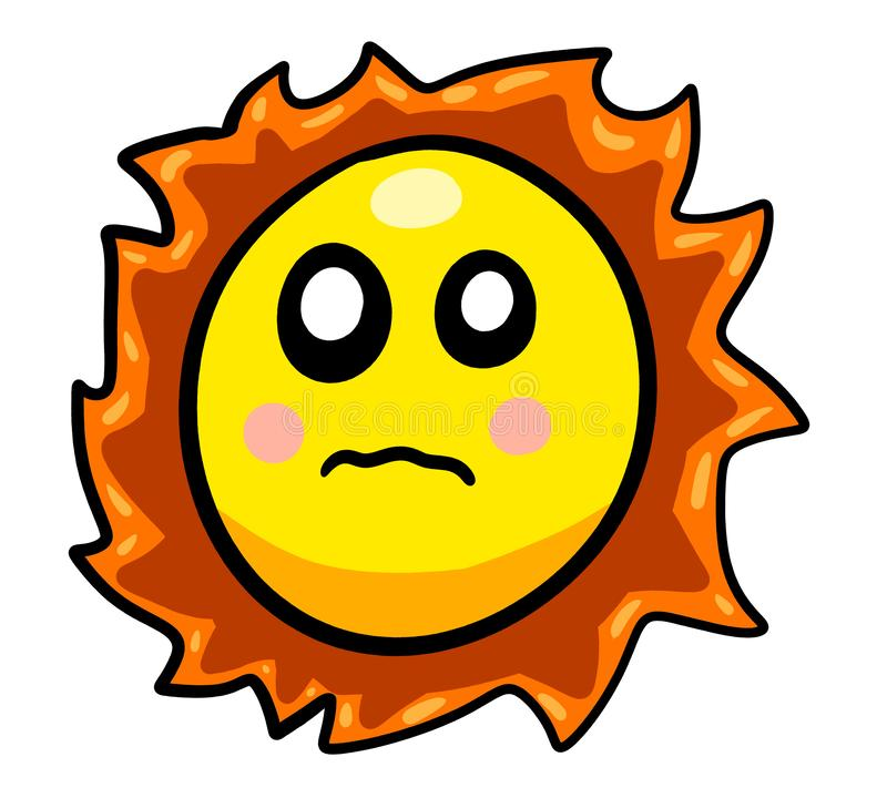 Eine erschrockene Karikatur Sun stock abbildung
