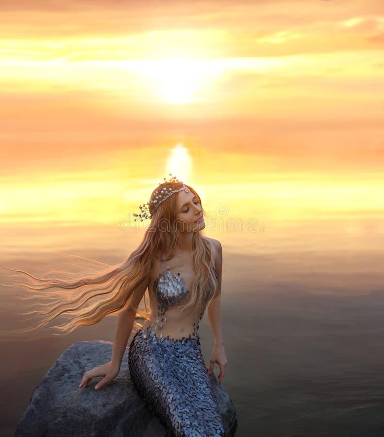 Eine erstaunliche golden-haarige Meerjungfrau auf dem Stein in den Abendlichtern der Sonne stockbilder