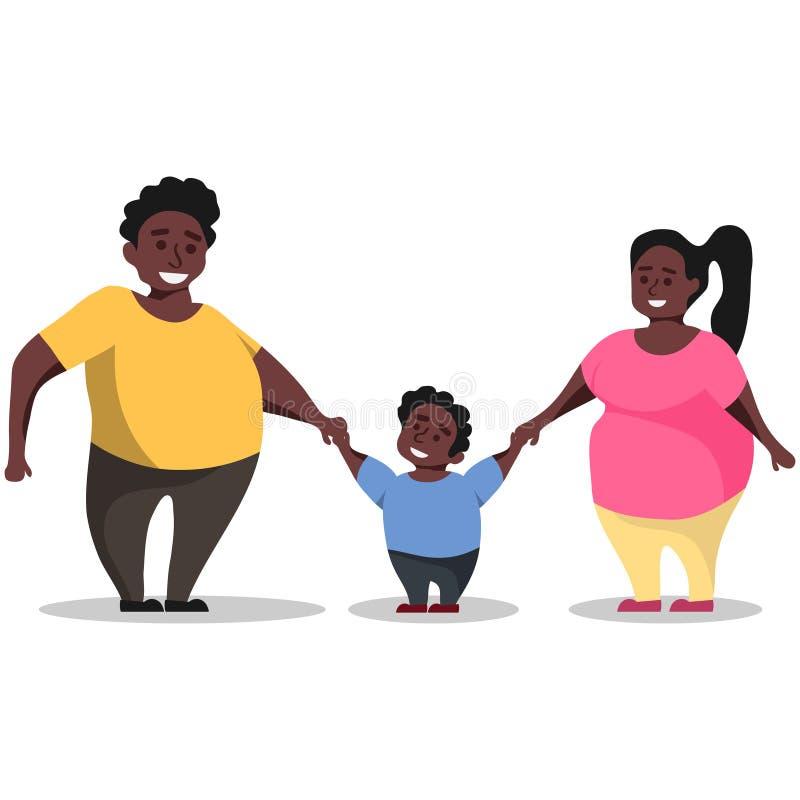 Eine Familie von Afroamerikanern hält Hände Familie voll des Afrikanerhändchenhaltens lizenzfreie abbildung