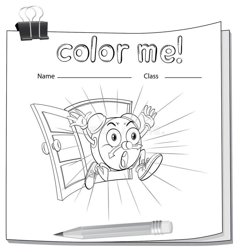 Eine Farbe Ich Arbeitsblatt Mit Einer Uhr Vektor Abbildung ...