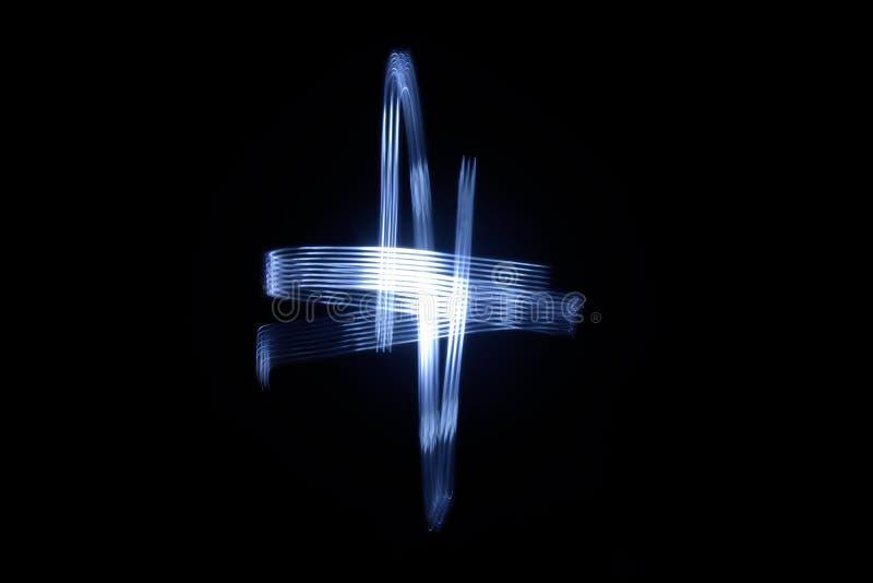 Eine Farbe mit Licht auf schwarzem Hintergrundzeichen + stockfoto