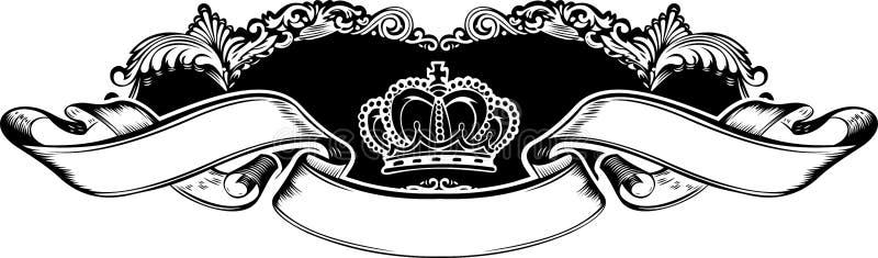 Eine Farben-königliche Kronen-Weinlese-Fahne stock abbildung