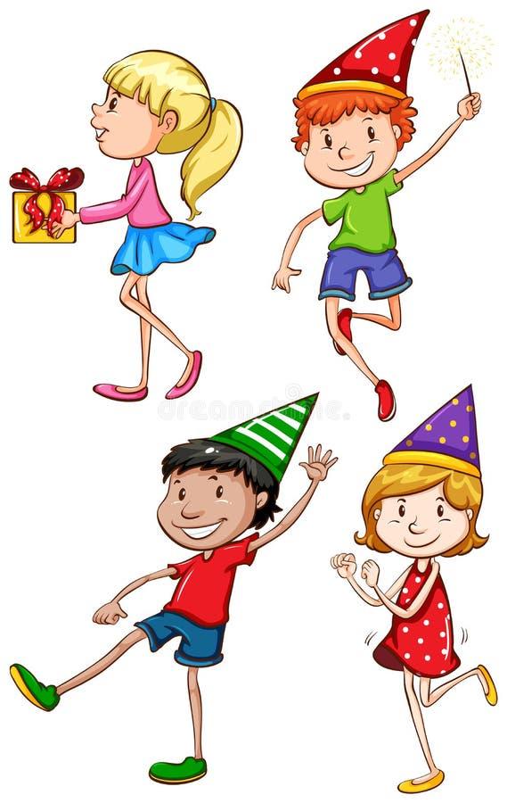 Eine Farbige Skizze Der Feiernden Kinder Vektor Abbildung ...