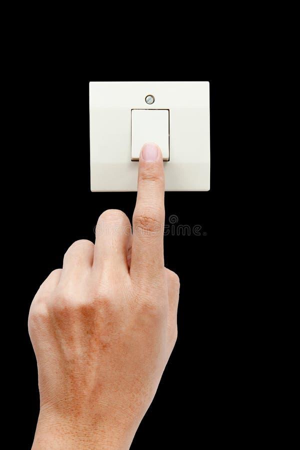 Eine Fingerschaltung schaltete weg, drücken den Knopf ein lizenzfreies stockbild