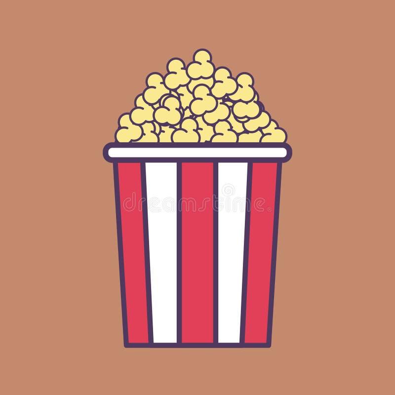 Eine flache Vektor-Illustration der hohen Qualität eines Popcorn-Eimers stock abbildung