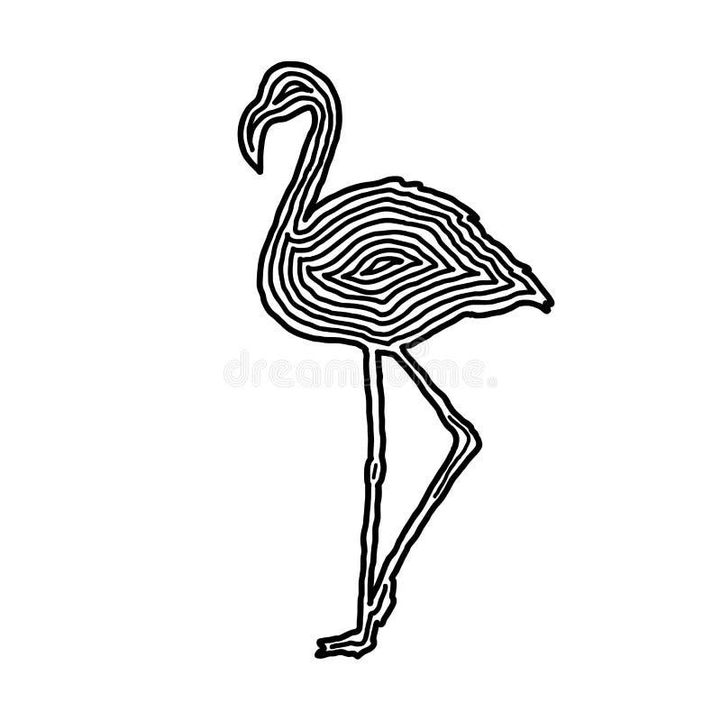 Eine Flamingoillustrationsikone in der Schwarzoffsetlinie Fingerabdruck s lizenzfreie abbildung