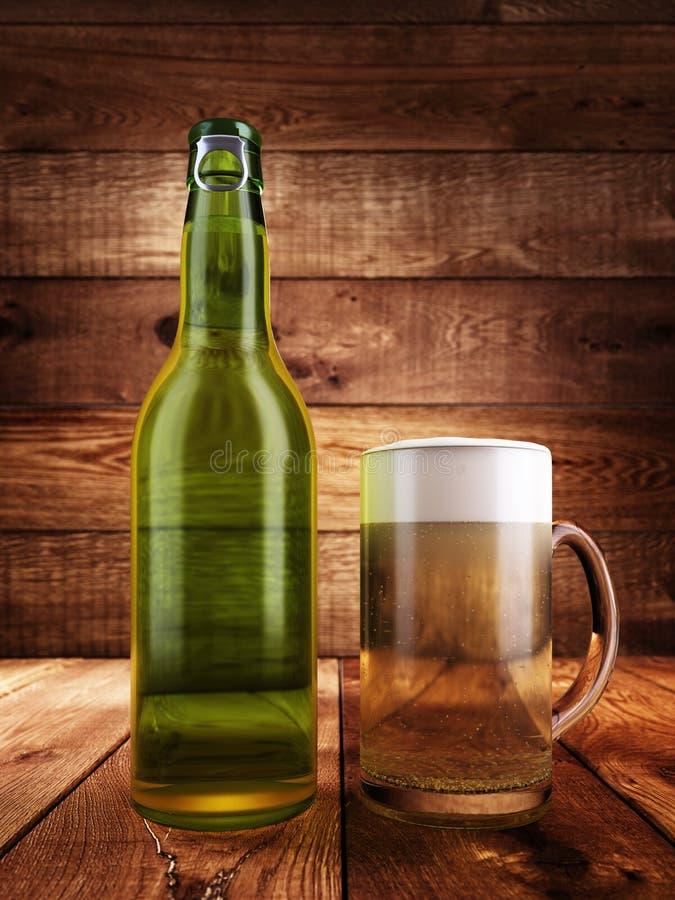 Eine Flasche Bier, ein Glas voll vom Bier mit Schaum stock abbildung