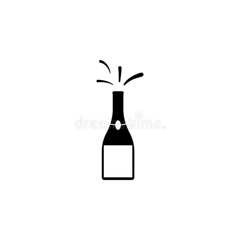 eine Flasche der Champagnerikone Element der Partei- und Spaßikone Erstklassige Qualitätsgrafikdesignikone Zeichen und Symbolsamm lizenzfreie abbildung