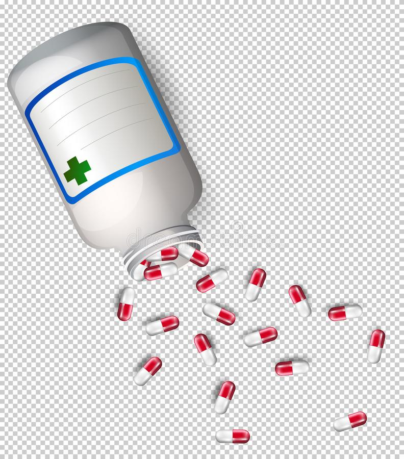 Eine Flasche Medizin auf transparentem Hintergrund vektor abbildung