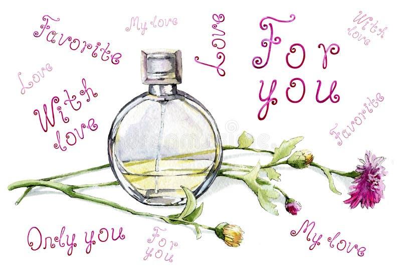 Eine Flasche mit Duft, Toilettenwasser und Blumenstrauß Die Inschriftenliebe ist für Sie, nur Sie Handgezeichnet vektor abbildung