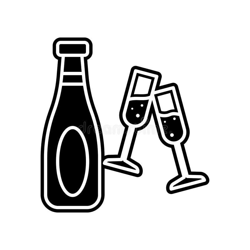 eine Flasche und Gl?ser der Champagnerikone Element des Kasinos f?r bewegliches Konzept und Netz Appsikone Glyph, flache Ikone f? lizenzfreie abbildung