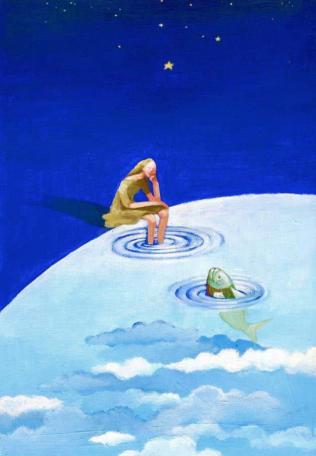 Eine Frau betrachtet einen Fisch vektor abbildung