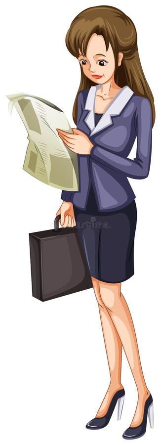 Eine Frau, die eine Zeitung liest vektor abbildung