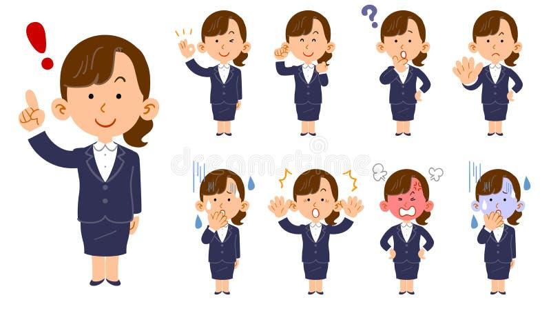 Eine Frau, die einen Anzug, Satz von neun Haltungen und Gesichtsausdrücke, Neuling trägt vektor abbildung