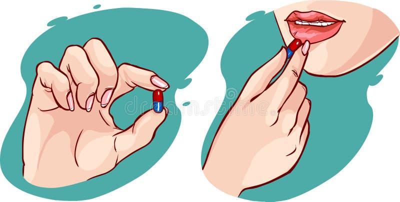 Eine Frau, die eine Pille/ein Vitamin nimmt vektor abbildung