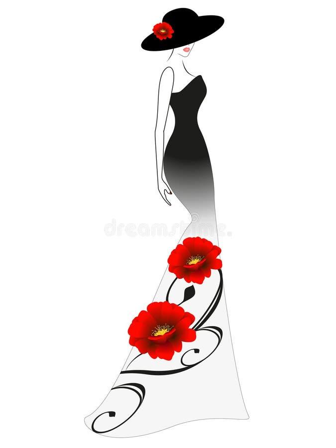 Eine Frau in einem langen Kleid und in einem Hut mit roter Blume stock abbildung