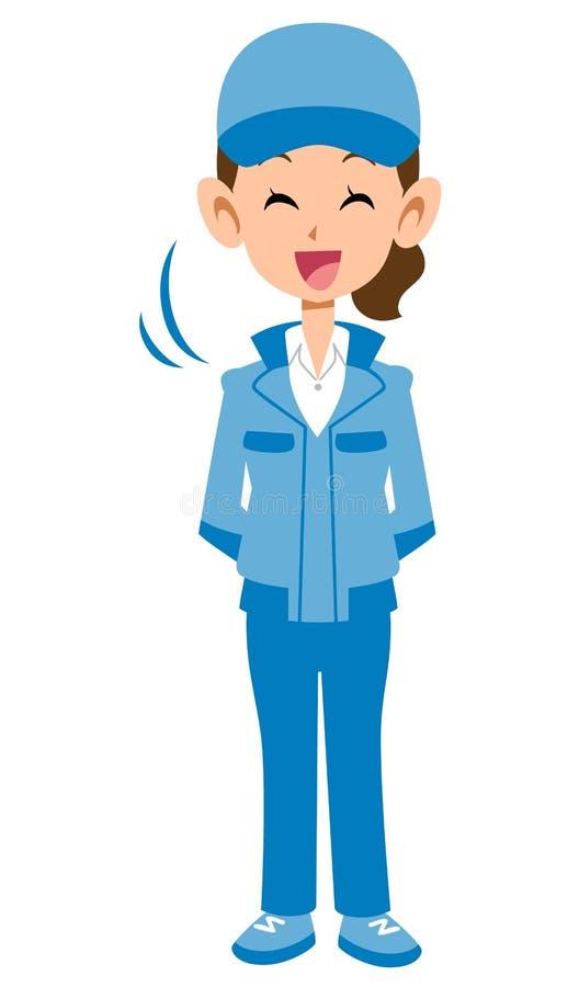 Eine Frau in einer blauen Arbeitskleidung vektor abbildung