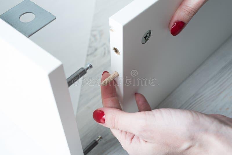 Eine Frau fügt hölzerne Stifte in die Seitenwand der Möbel w ein lizenzfreies stockfoto
