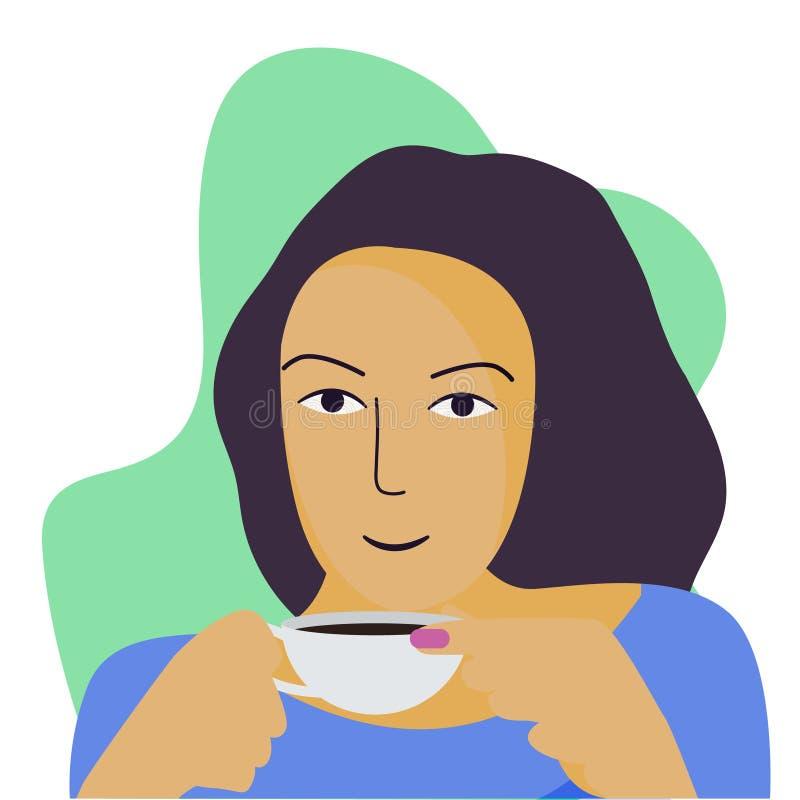 Eine Frau hält eine Tasse Tee oder Kaffee Das Vergnügen eines heißen Getränks lizenzfreie abbildung