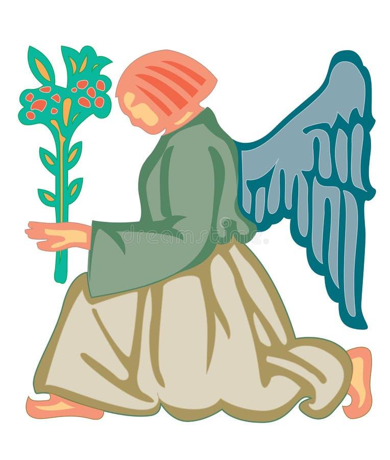 Eine Frau hat die Flügel, die eine Blume halten stock abbildung