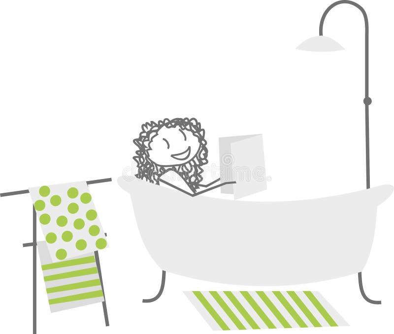 Eine Frau in ihrem Bad lizenzfreie abbildung